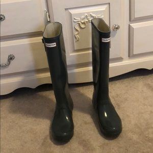 Tall gray hunter boots